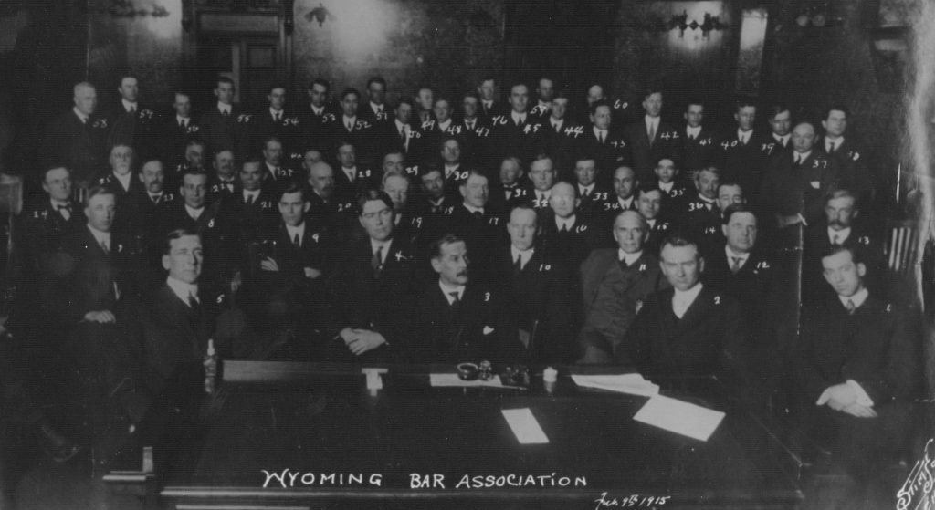 1915 Meeting of Wyoming Bar Association - C.P. Arnold seated in center -First Bar President